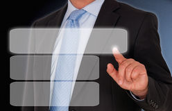 Businessman touching blank screen Royalty Free Stock Photo