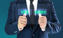 Businessman touching check virtual button. Concept of business decision yes and agree.  stock photo