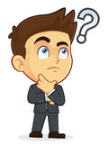 Businessman Touching Chin with Question Mark. Clipart Picture of a Male Businessman Cartoon Character Touching Chin with a Question Mark Stock Image