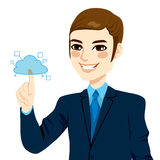 Businessman Touching Cloud Computing. Young businessman touching cloud computing services concept illustration isolated on white background Royalty Free Stock Photography