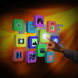 Businessman touching colorful application icons Stock Photos
