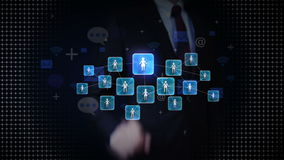Businessman touching connect people, using social network service, communication technology concept stock video