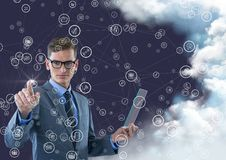 Businessman touching connecting icons Stock Image