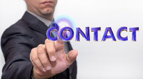 Touching contact word on air stock images