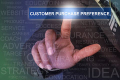 Businessman touching CUSTOMER PURCHASE PREFERENCE button on virt. Businessman touching text button very professionally on virtual screen Royalty Free Stock Photo