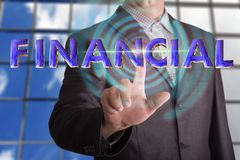 Financial text with businessman royalty free stock image