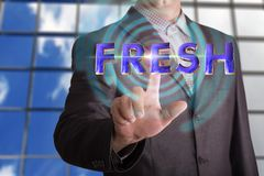 Fresh text with businessman royalty free stock photography