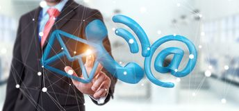 Businessman touching 3D rendering contact icon with his finger. Businessman on blurred background touching 3D rendering contact icon with his finger Royalty Free Stock Image