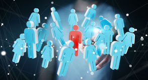 Businessman touching 3D rendering group of people with his finge Stock Images
