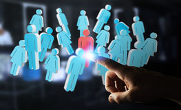 Businessman touching 3D rendering group of people with his finge. Businessman on blurred background touching 3D rendering group of people with his finger Royalty Free Stock Photos
