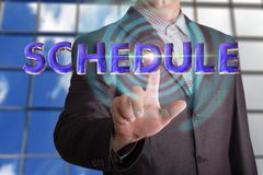 Schedule text with businessman royalty free stock photo