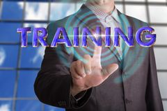 Training text with businessman royalty free stock image