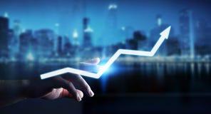 Businessman touching digital arrow 3D rendering Stock Images