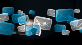 Businessman touching digital email icons 3D rendering. Businessman touching digital email icons with his finger 3D rendering Royalty Free Stock Image