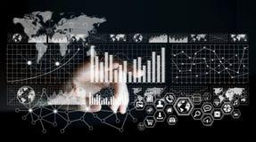 Businessman touching digital graph interface 3D rendering Stock Photo