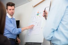 Businessman Touching Document On Flipchart While Giving Presenta Stock Photography