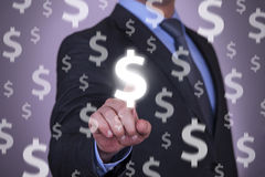 Businessman Touching Dollars on Screen Stock Images