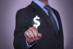 Businessman Touching Dollars Royalty Free Stock Images