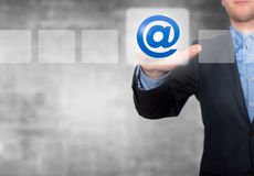 Businessman Touching Email Button and Ticking Check Box Royalty Free Stock Photo