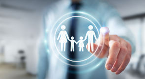 Businessman touching family interface with his finger 3D renderi. Businessman on blurred background touching family interface with his finger 3D rendering Royalty Free Stock Photography