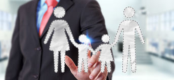 Businessman touching family interface with his finger 3D renderi. Businessman on blurred background touching family interface with his finger 3D rendering Stock Photography