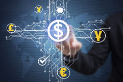 Businessman touching financial analysis graph with dollar signs. Money. concept exchange currency Royalty Free Stock Photo