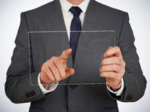 Businessman touching glass screen Royalty Free Stock Photo