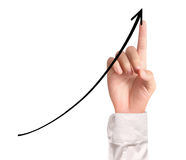 Businessman Touching a Graph. Businessman Touching graph of work Royalty Free Stock Photos