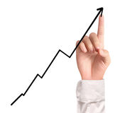 Businessman Touching a Graph. Businessman Touching graph of work Stock Photography