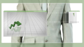 Businessman touching green graphic on screen stock video