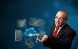 Businessman touching high technology cloud service Royalty Free Stock Photography