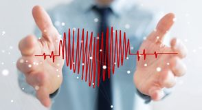 Businessman touching and holding heart beat sketch Royalty Free Stock Image