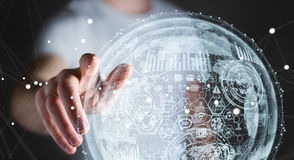 Businessman touching hologram sphere 3D rendering Stock Images