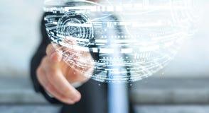 Businessman touching hologram sphere 3D rendering Royalty Free Stock Image