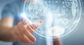 Businessman touching hologram sphere 3D rendering Stock Image