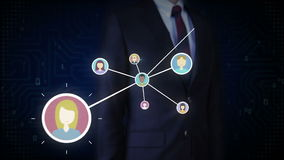 Businessman touching human icon, Connecting people, business network. social media service icon.