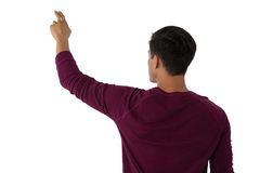 Businessman touching invisible imaginary screen Stock Images