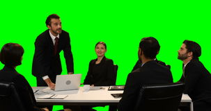 Businessman touching invisible screen while using laptop stock video footage