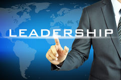 Businessman touching LEADERSHIP sign. Businessman touching  LEADERSHIP sign on virtual screen Royalty Free Stock Images