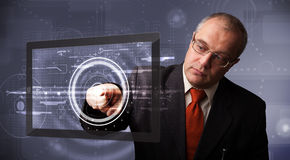 Businessman touching modern technology tablet Royalty Free Stock Photo