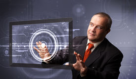 Businessman touching modern technology tablet Royalty Free Stock Photography