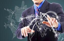 Businessman touching network line traveller Stock Photo