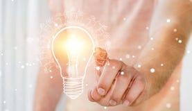 Businessman touching renewable eco lightbulb sketch Royalty Free Stock Photos