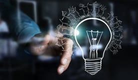 Businessman touching renewable eco lightbulb sketch Royalty Free Stock Photography
