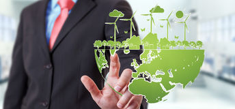 Businessman touching renewable energy sketch Stock Images