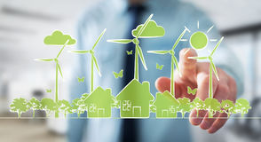 Businessman touching renewable energy sketch. Businessman on blurred background touching renewable energy sketch stock illustration