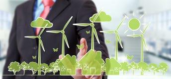 Businessman touching renewable energy sketch vector illustration