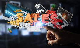 Businessman touching sales icons with his finger 3D rendering. Businessman on blurred background touching sales icons with his finger 3D rendering Royalty Free Stock Images