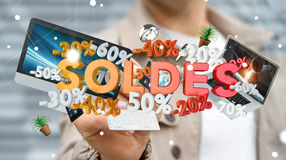 Businessman touching sales icons with a pen 3D rendering. Businessman on blurred background touching sales icons with a pen 3D rendering Stock Photo