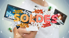 Businessman touching sales icons with a pen 3D rendering. Businessman on blurred background touching sales icons with a pen 3D rendering Stock Images